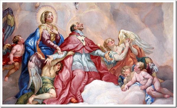 São Carlos Borromeu_Intercessão_supported_by_the_Virgin_Mary_-_Detail_Rottmayr_Fresco_-_Karlskirche_-_Vienna